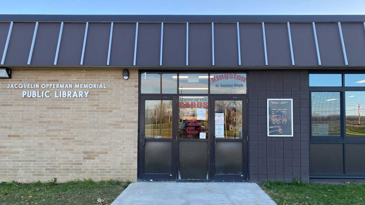 Image of the Jacqueline E. Opperman Memorial Library in Kingston Michigan (located in the High School)